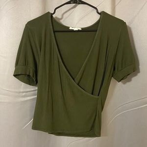 Army Green Wrap Style Top